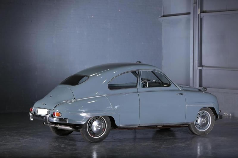 1957 Saab 93 berline blue exterior rear side