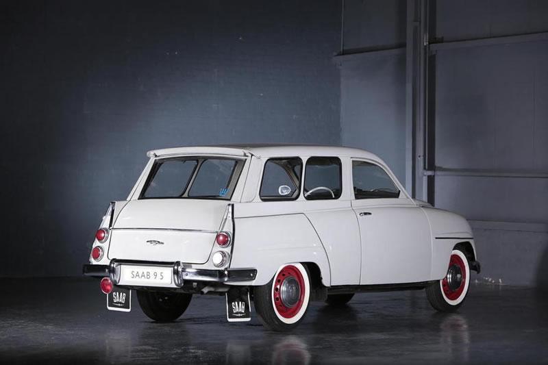 1961 Saab 95 break white exterior rear side