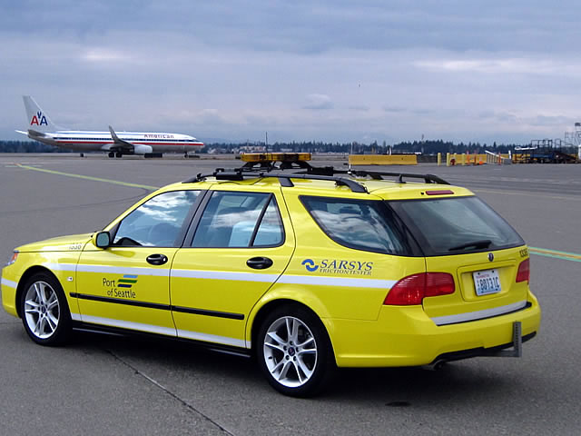 Saab 9-5 SportCombi friction tester at Seattle Airport
